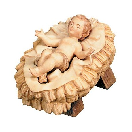Infant with Cradle carved in maple wood - stained 3 col.