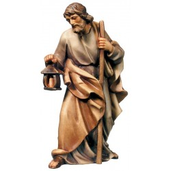 Saint Joseph carved in maple wood - Wood colored in Different brown shades