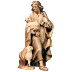 The Good Shepherd Wooden Shepherd with Sheep and hut - stained 3 col.
