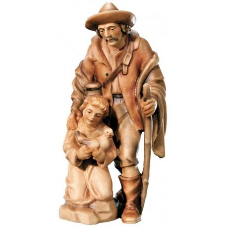 Pastore con bambino in legno - brunito 3 col.