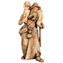 Hirt mit Schaf aus Ahornholz geschnitzt - Holz in verschiedenen Brauntönen lasiert