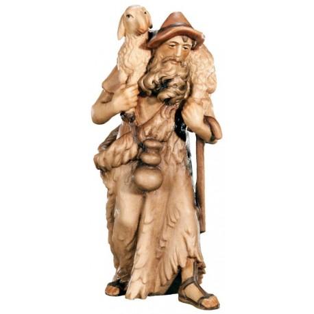 Figurina pastore con pecore in legno - brunito 3 col.