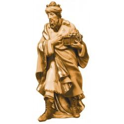Re Magio Bianco elegantemente scolpito in legno d'acero - legno colorato in diverse tonalitá di marrone