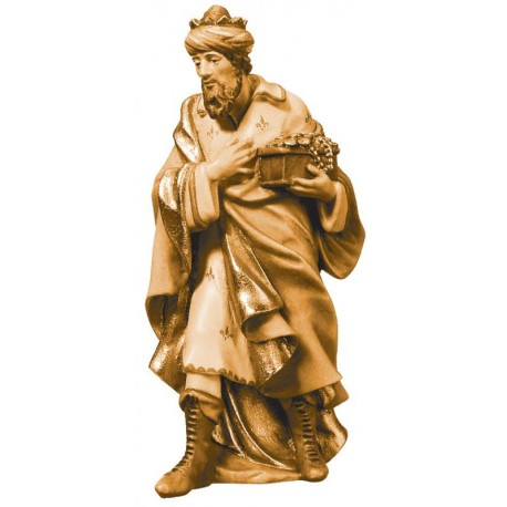 Statuina Melchiorre Re Magio in legno - brunito 3 col.