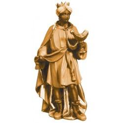 Re Magio Moro scolpito in legno d'acero - legno colorato in diverse tonalitá di marrone