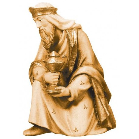Kniender König Balthasar aus Holz - mehrfach gebeizt