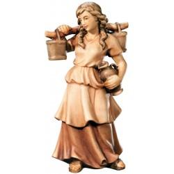 Figura di pastorella con brocche scolpita in legno d'acero - legno colorato in diverse tonalitá di marrone
