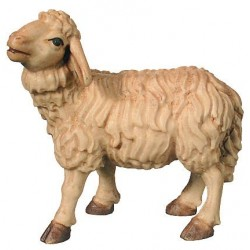 Standing Sheep carved in maple wood  - Wood colored in Different brown shades