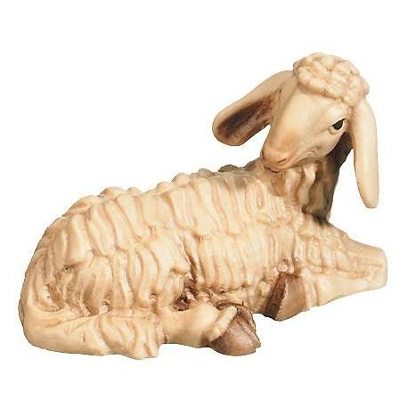 Pecora seduta scolpita in legno - brunito 3 col.