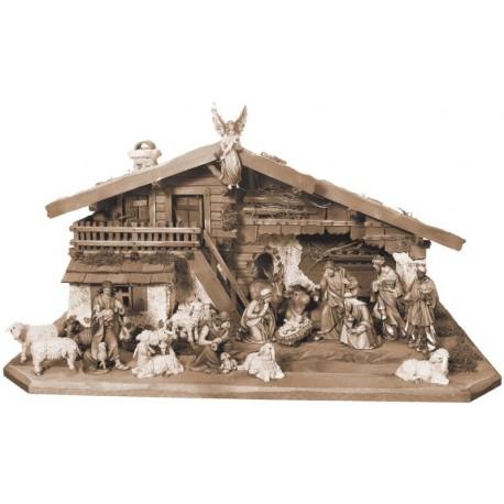 Presepe da 14 figurine con capanna in legno - brunito 3 col.