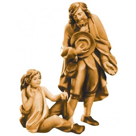 Pastore con ragazzo in legno - brunito 3 col.