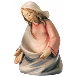 Mary wood carved nativity set - color