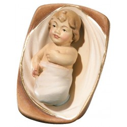 Bambinello Gesù con culla in legno - colorato a olio