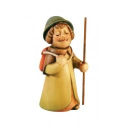 Hirte als Wanderer mit Rucksack aus Ahornholz geschnitzt in Südtirol, Original Grödner Schnitzereien