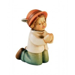 Dieser Hirte kniend ist eine Holzfigur, Südtiroler Krippenfigur aus Ahornholz geschnitzt, aus Gröden