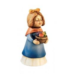 Hirtenfrau mit Fruchtkorb aus Holz geschnitzt hergestellt in Südtirol Gröden, Schnitzereien Südtirol