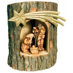 Holy Family in a Tree-Trunk - Wood colored in Different brown shades