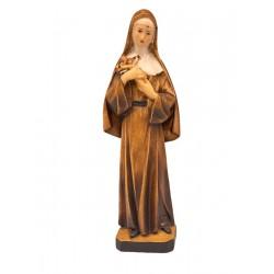 Statue der Heiligen Rita da Cascia mit Engelsgesicht, Kruzifix in den Armen, geschnitzte Holzstatue - Brauntöne lasiert