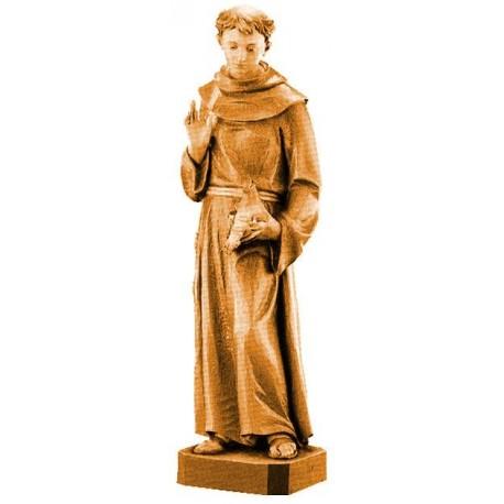 San Francesco con animali di legno - brunito 3 col.