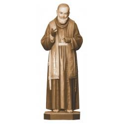 San Padre Pio con stimmate in legno - brunito 3 col.