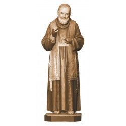 San Padre Pio raffigurato con le stimmate - legno colorato in diverse tonalitá di marrone