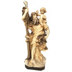 Saint Christopher carved in maple wood - Wood colored in Different brown shades