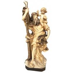 San Cristoforo scolpito finemente in legno - legno colorato in diverse tonalitá di marrone