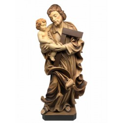 Saint Joseph with Child Sculpted in Baroque Design Hand carved Wooden Figurines - Made in Italy - oil colors