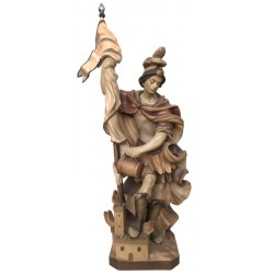 Saint Florian with Flag, wood carved - stained 3 col.
