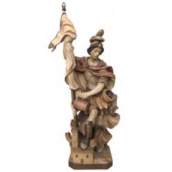 San Floriano ritratto a protezione degli incendi - legno colorato in diverse tonalitá di marrone