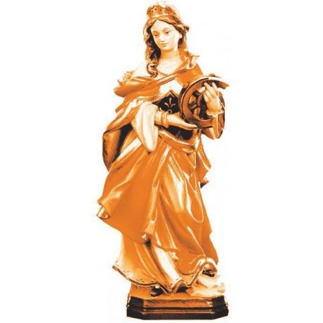 Heilige Katharina von Alexandria Märtyrerin mit Rad als Holzfigur - mehrfach gebeizt