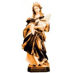 Santa Cecilia patrona della musica scolpita in legno - legno colorato in diverse tonalitá di marrone