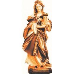 Heilige Barbara mit Turm aus Holz - mehrfach gebeizt