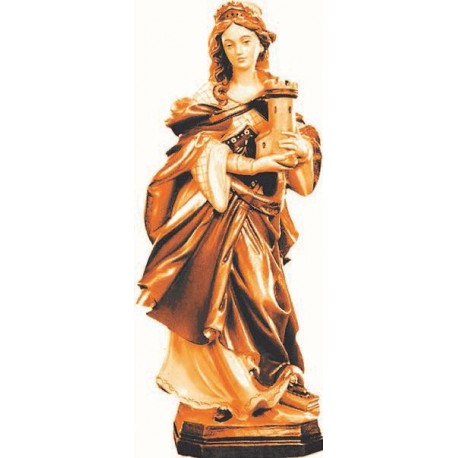Saint Barbara with tower - Wood colored in Different brown shades