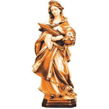 Santa Dorotea scolpita con cesta in legno - brunito 3 col.