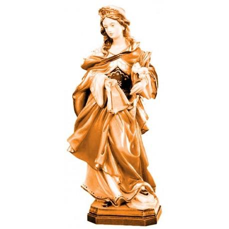 Santa Veronica ritratta con panno e fiori in legno - brunito 3 col.