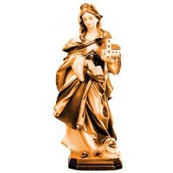 Heilige Hedwig mit Kirche in Holz geschnitzt - mehrfach gebeizt
