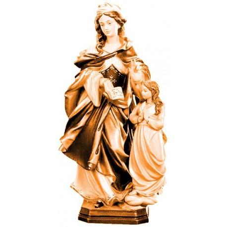 Santa Anna ritratta con bambina in legno - brunito 3 col.