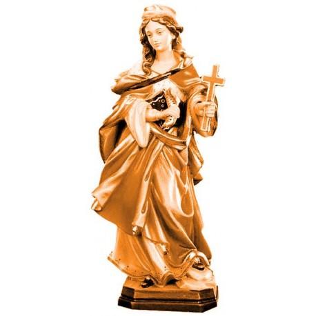 S. Margherita raffigurata con croce e pesce - legno colorato in diverse tonalitá di marrone