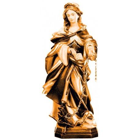 Santa Giuliana scolpita finemente con libro in legno - brunito 3 col.