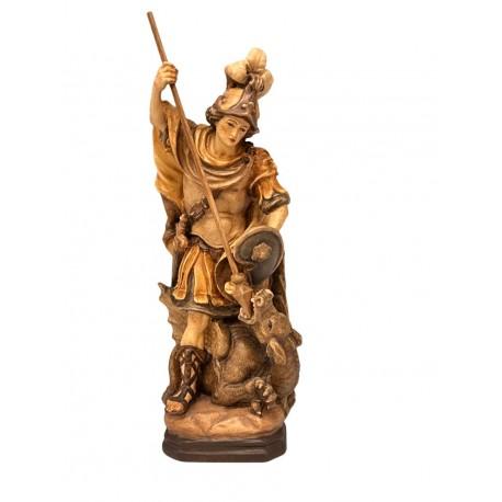 San Giorgio ritratto mentre sconfigge il drago - legno colorato in diverse tonalitá di marrone