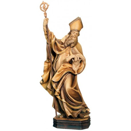 Saint Blasius wood carved statue - stained 3 col.