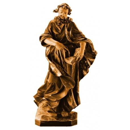 Hl. Thomas mit Winkelmass - Holz in verschiedenen Brauntönen lasiert