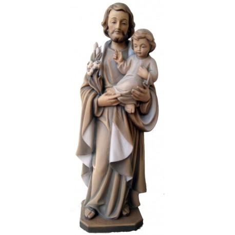 San Giuseppe con bambino Gesù e giglio in legno - brunito 3 col.