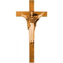 Christus König auf Kreuz aus Holz - mehrfach gebeizt