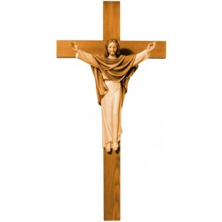 Risen Christ on Cross - Wood colored in Different brown shades