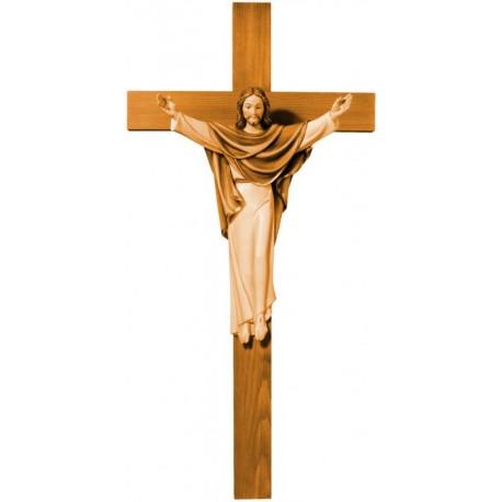 Cristo Re Risorto in legno - brunito 3 col.