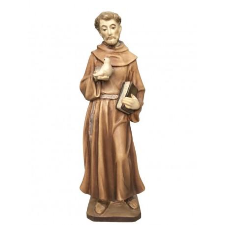San Francesco scolpito in legno d'acero - legno colorato in diverse tonalitá di marrone