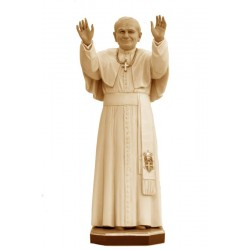 Saint Pope John Paul II - Dolfi Catholic wood carving Statuary - Made in Italy - oil colors