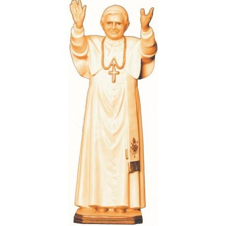 Statua Papa Benedetto XVI in legno - brunito 3 col.
